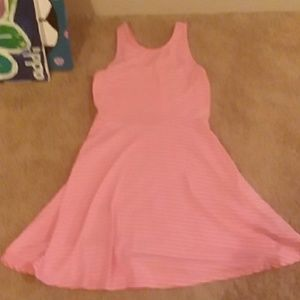 Girls pink dress with white strips size M